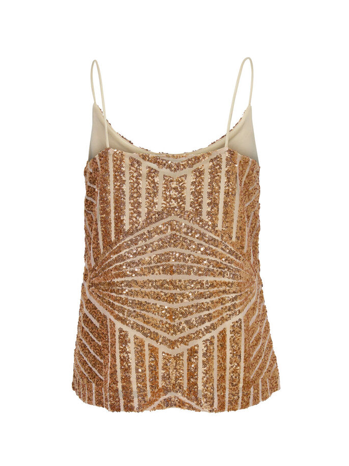 SEQUINS SLEEVELESS TOP, Rose Gold Colour, large
