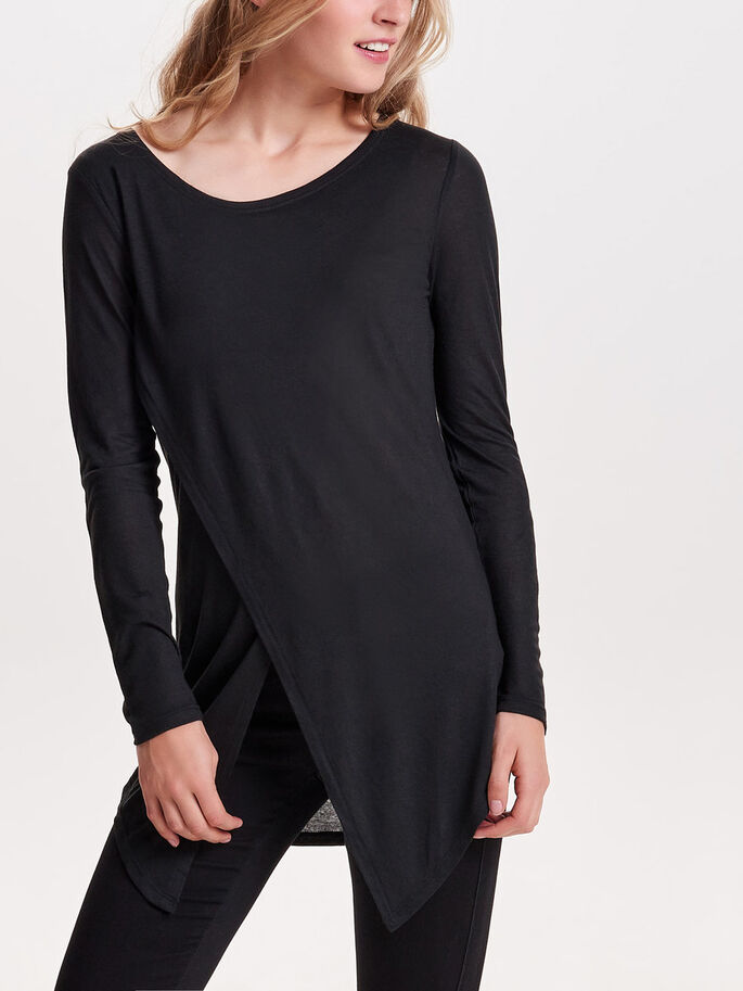 SLIT LONG SLEEVED TOP, Black, large