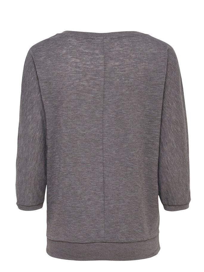LOOSE 3/4 SLEEVED TOP, Dark Grey Melange, large