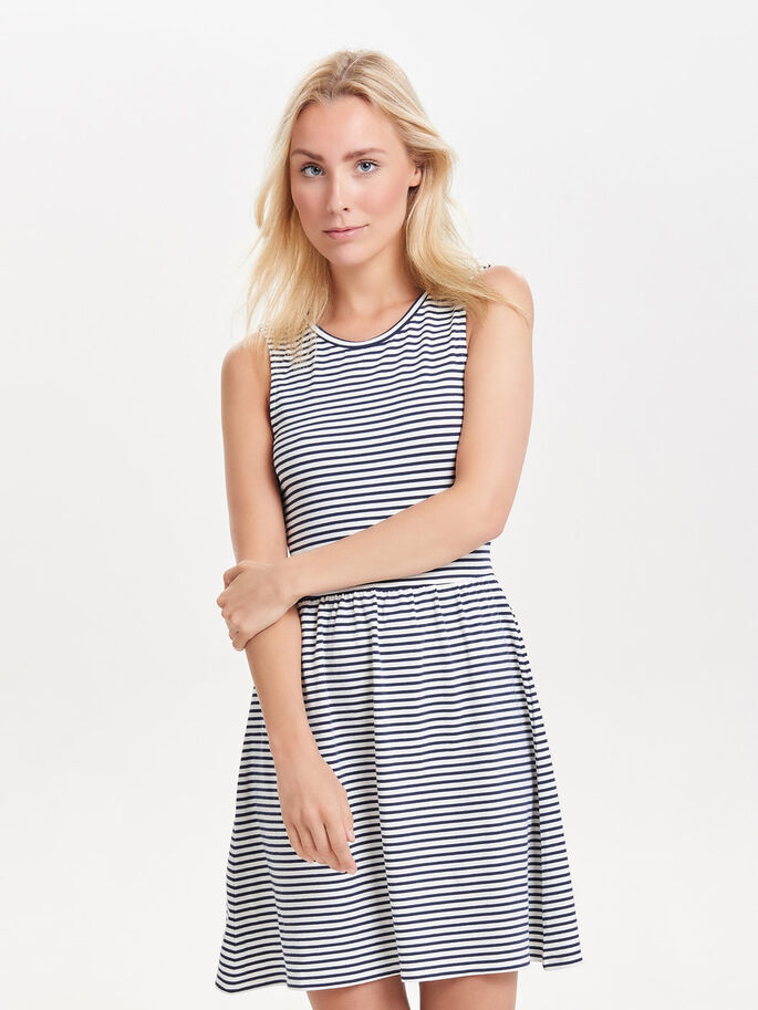 STRIPED SLEEVELESS DRESS, Cloud Dancer, large