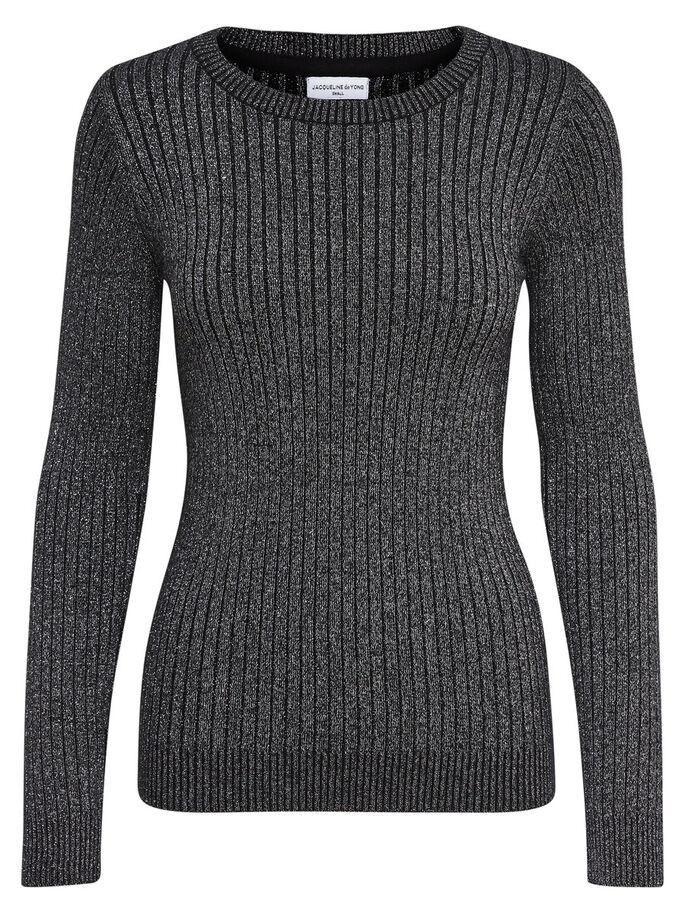 GLITTER KNITTED PULLOVER, Black, large