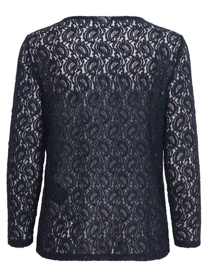LACE LONG SLEEVED TOP, Night Sky, large