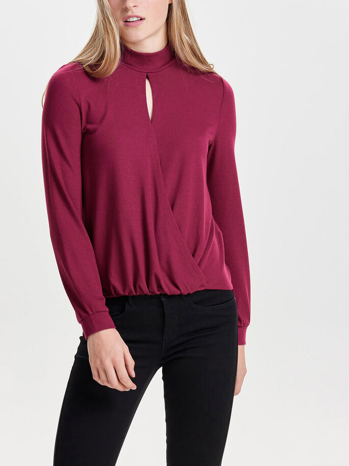 HIGH NECK LONG SLEEVED TOP, Rhododendron, large