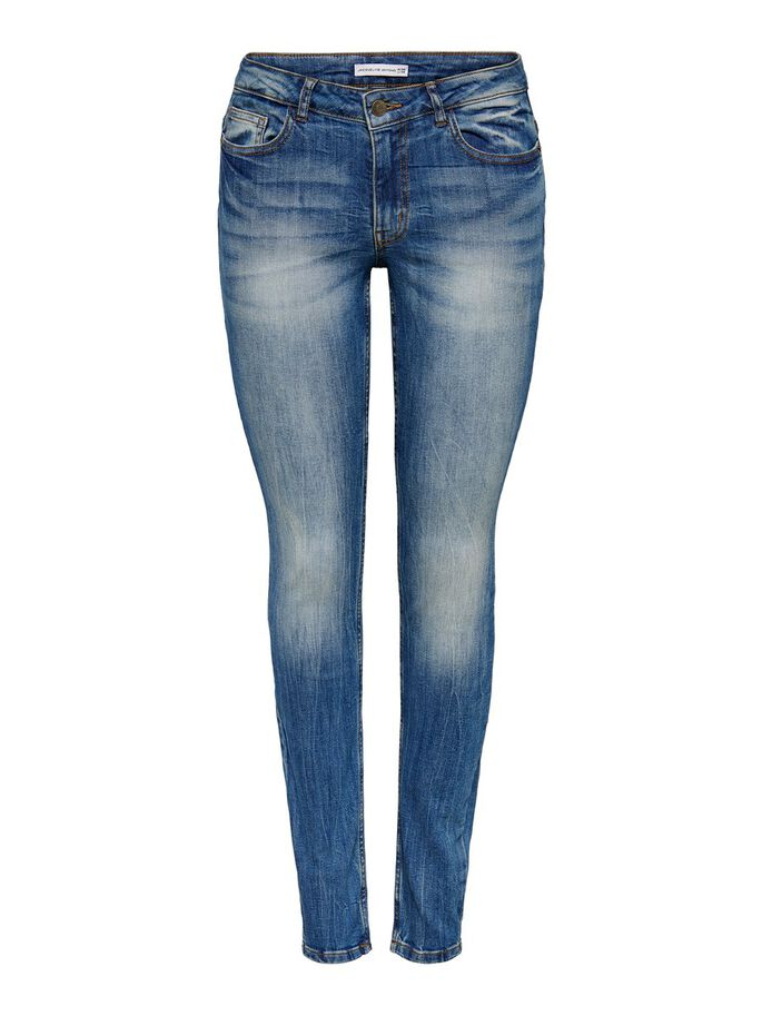 JDY LOW FLORA JEANS SKINNY FIT, Medium Blue Denim, large