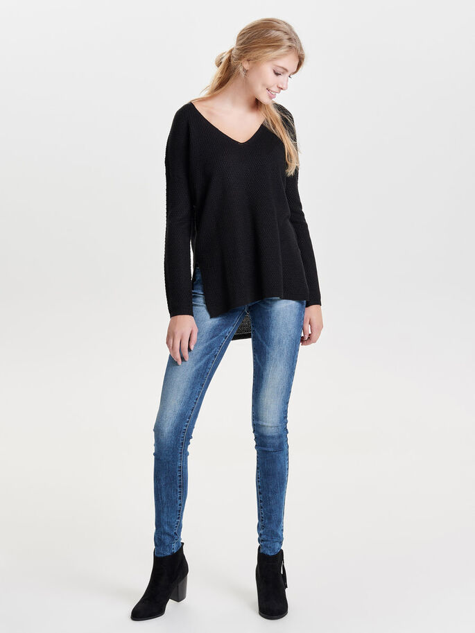 LOOSE KNITTED PULLOVER, Black, large