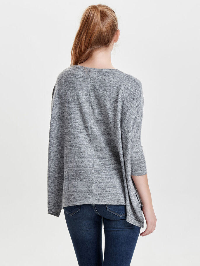 OVERSIZE- OBERTEIL MIT 3/4-ÄRMELN, Light Grey Melange, large