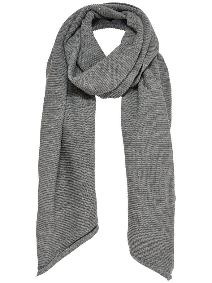 SOLID SCARF, Light Grey Melange, large