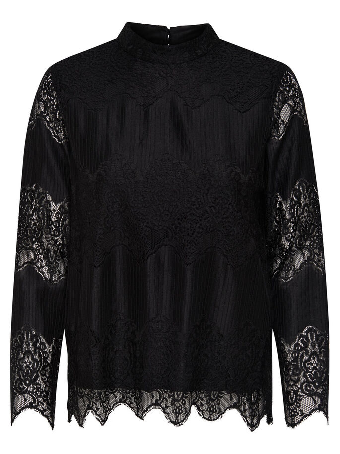 BLONDE LONG SLEEVED TOP, Black, large
