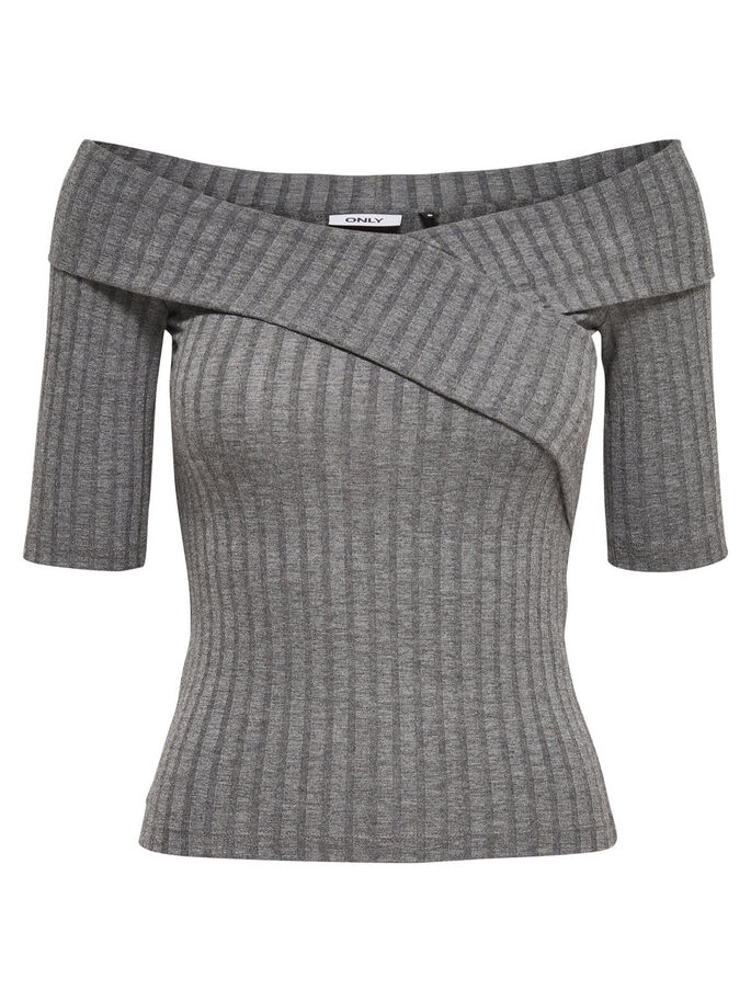 STRIPED WRAP 2/4 SLEEVED BLOUSE, Dark Grey Melange, large