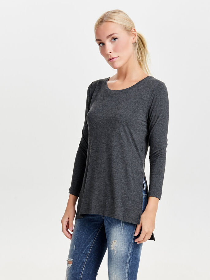 LØS TOP MED LANGE ÆRMER, Dark Grey Melange, large