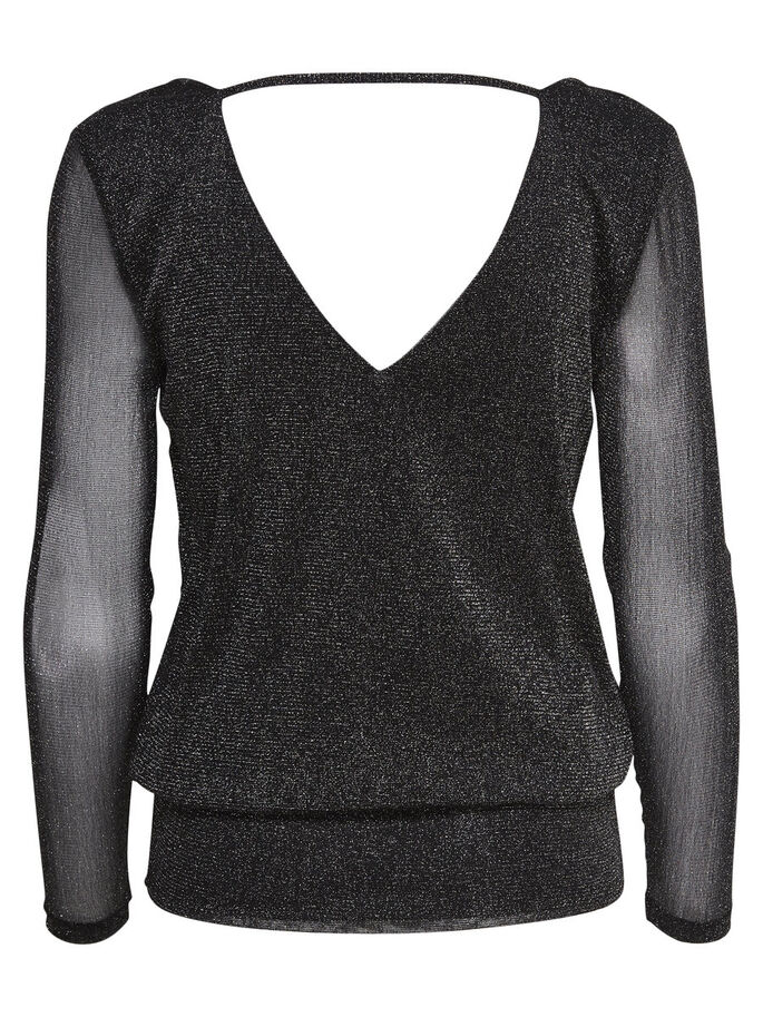 LUREX LONG SLEEVED TOP, Black, large