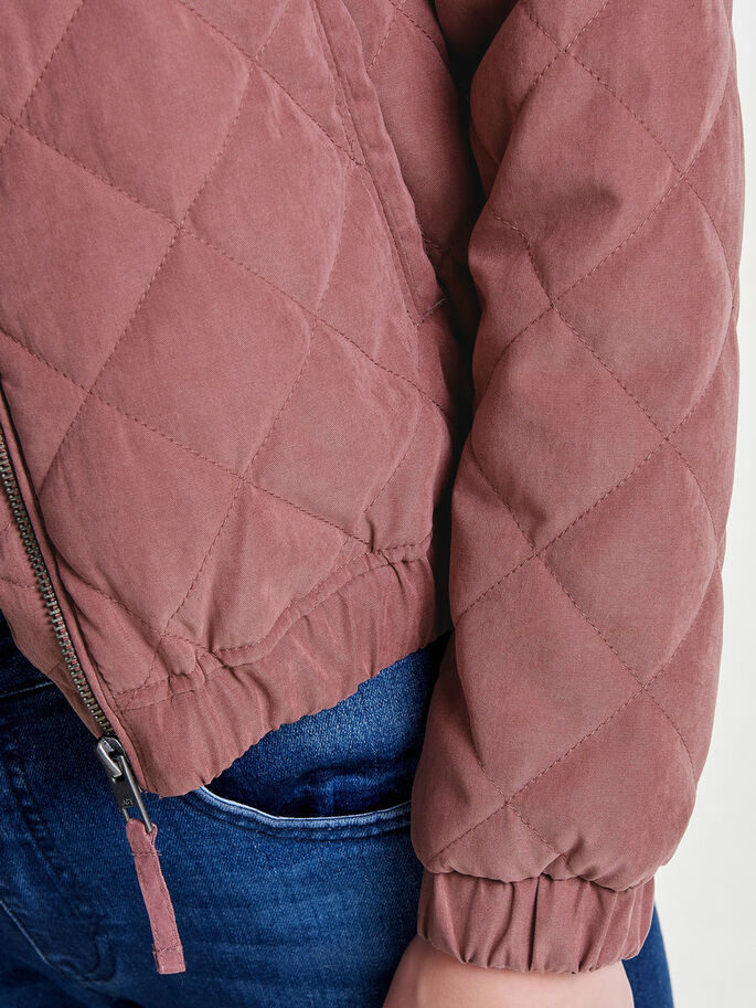 QUILTED BOMBER JACKET, Rose Brown, large