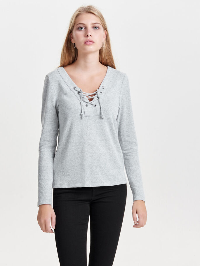 LACE-UP LONG SLEEVED TOP, Light Grey Melange, large