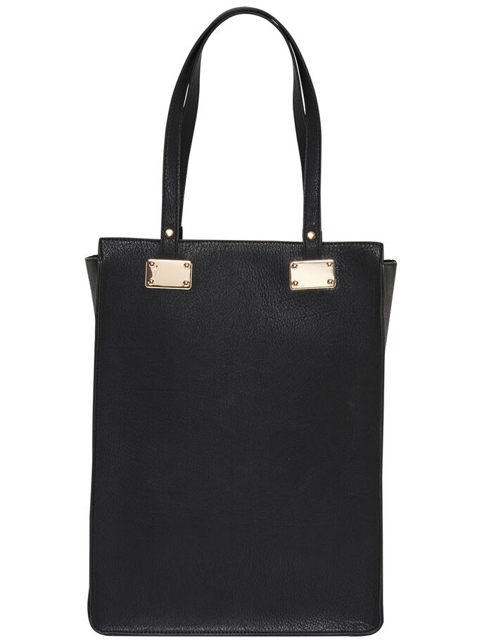 LEATHER LOOK BAG, Black, large