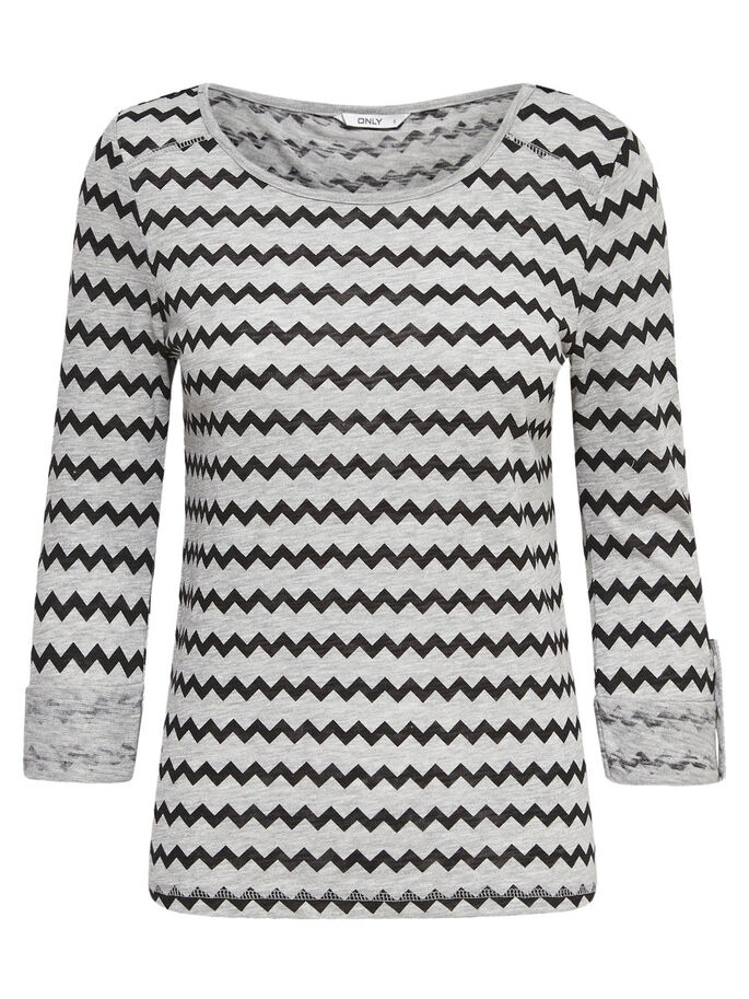 PRINTED 3/4 SLEEVED TOP, Light Grey Melange, large