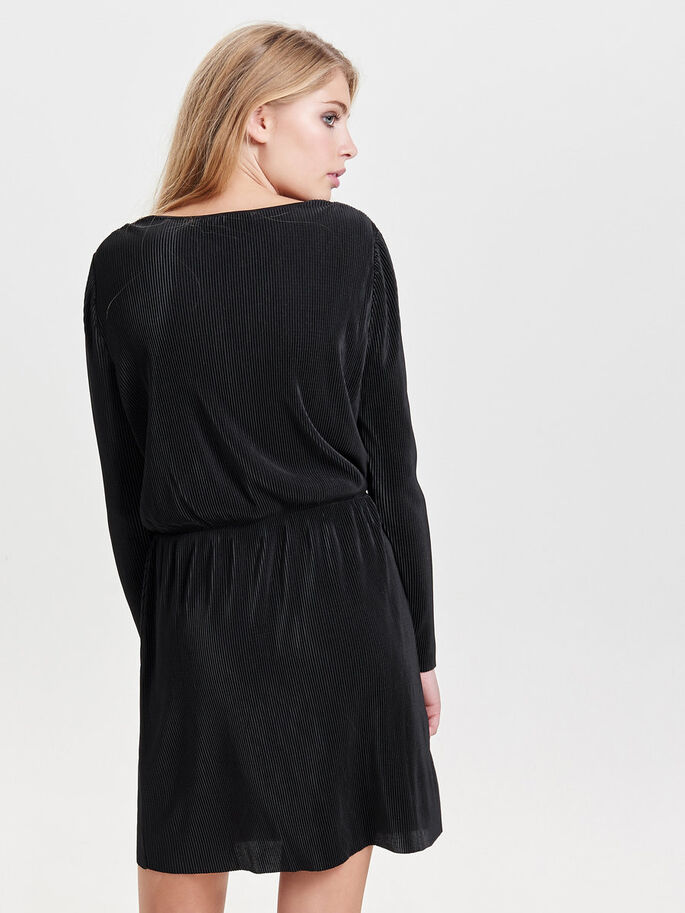 PLEATED LONG SLEEVED DRESS, Black, large