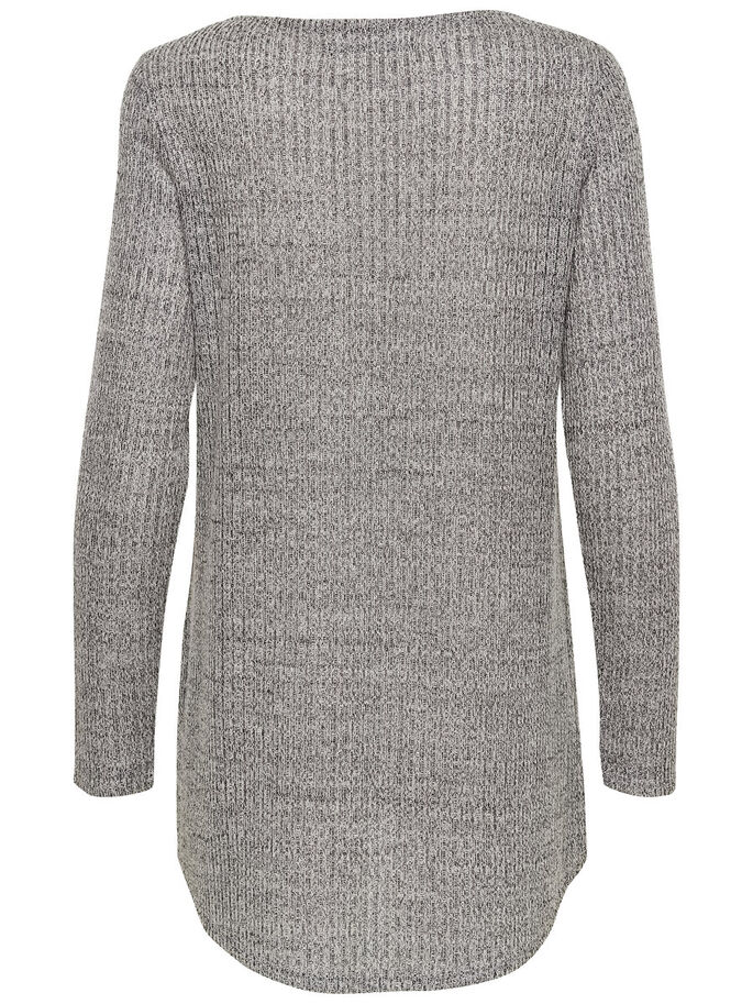 TWIST KNITTED PULLOVER, Medium Grey Melange, large