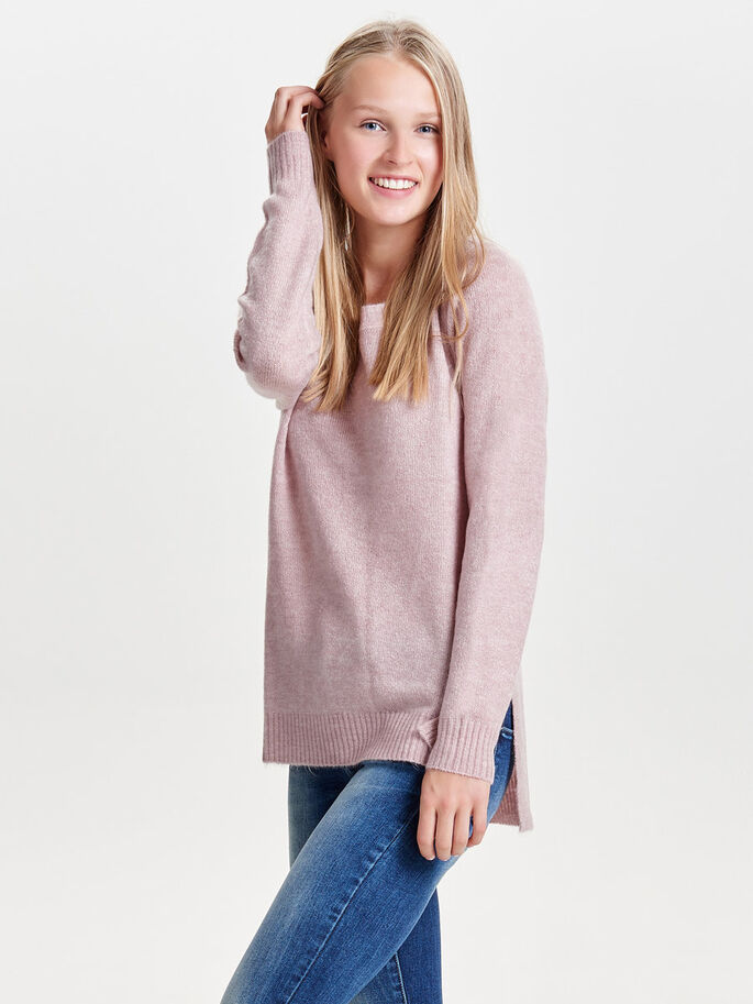 HIGH LOW KNITTED PULLOVER, Adobe Rose, large