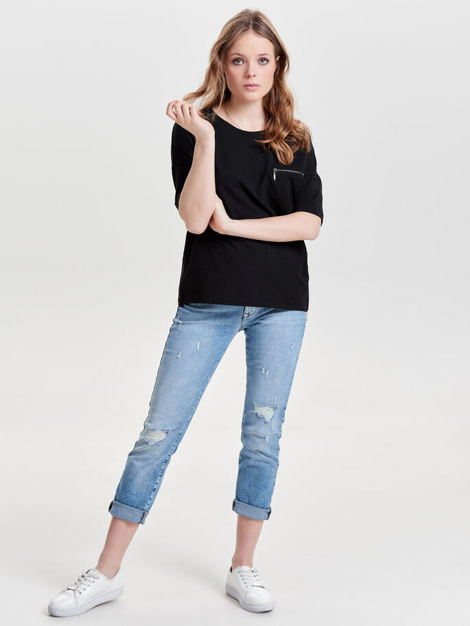 DETAILED 2/4 SLEEVED BLOUSE, Black, large