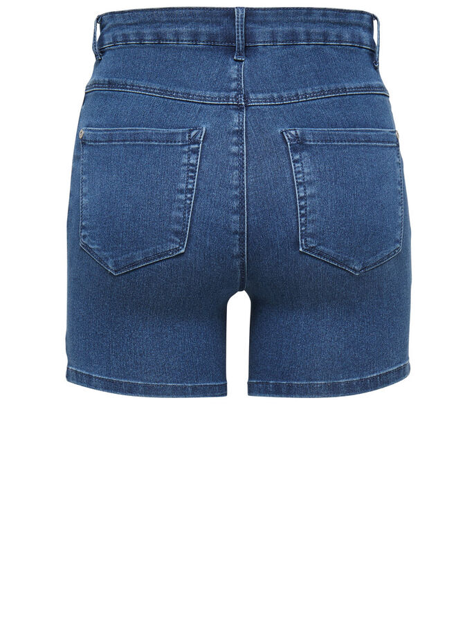 ROYAL HIGHWAISTED DENIM SHORTS, Medium Blue Denim, large