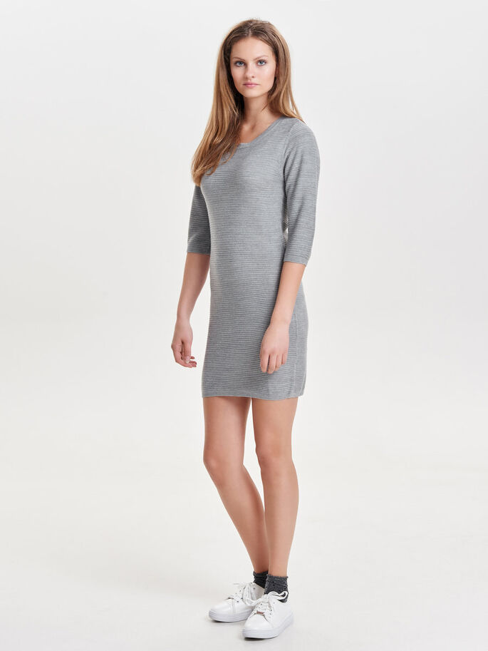 ZIP DRESS, Light Grey Melange, large