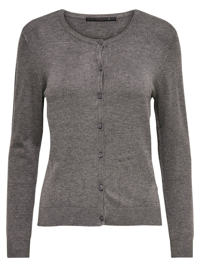 BASIC KNITTED CARDIGAN, Medium Grey Melange, large