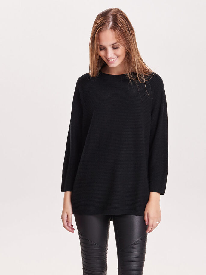 LOOSE KNITTED TOP, Black, large