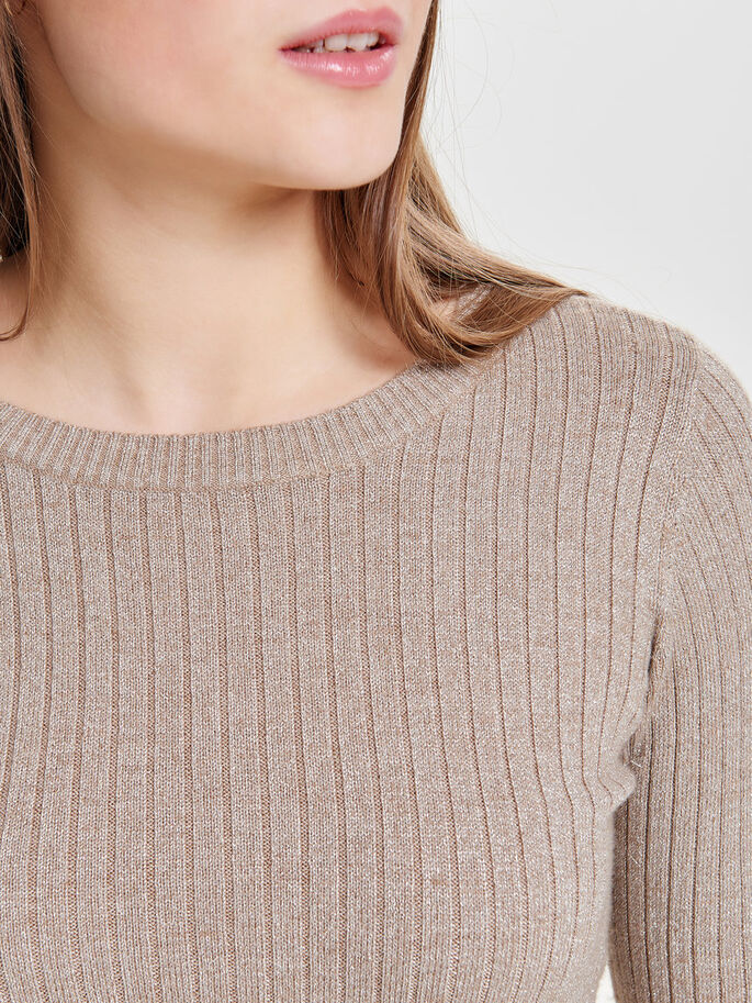 GLITTER KNITTED PULLOVER, Beige, large