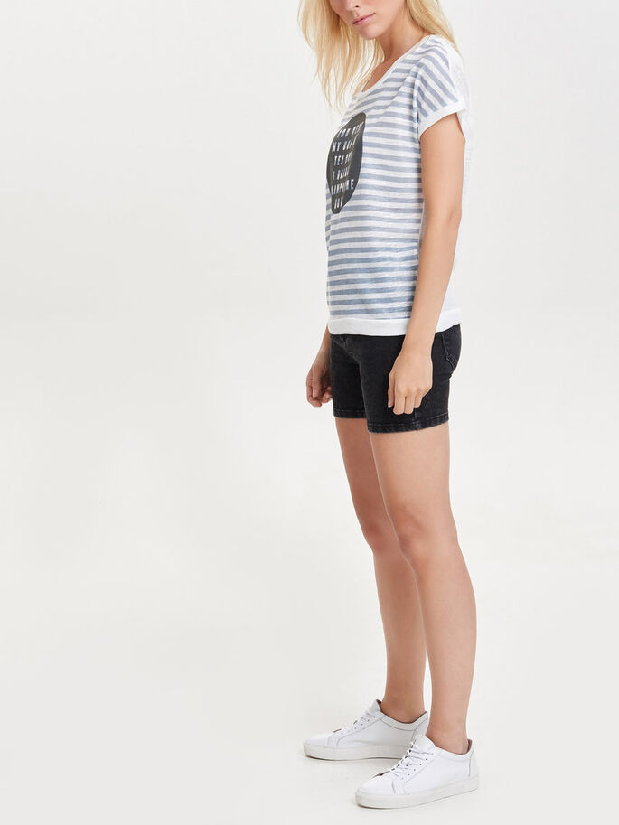 STRIPED SHORT SLEEVED TOP, Cloud Dancer, large