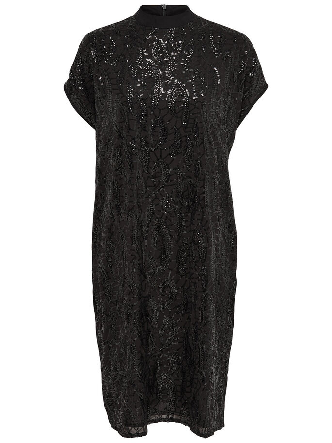 SEQUINS SHORT SLEEVED DRESS, Black, large