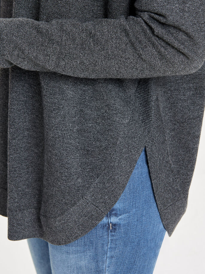 OVERSIZED GEBREIDE TRUI, Dark Grey Melange, large