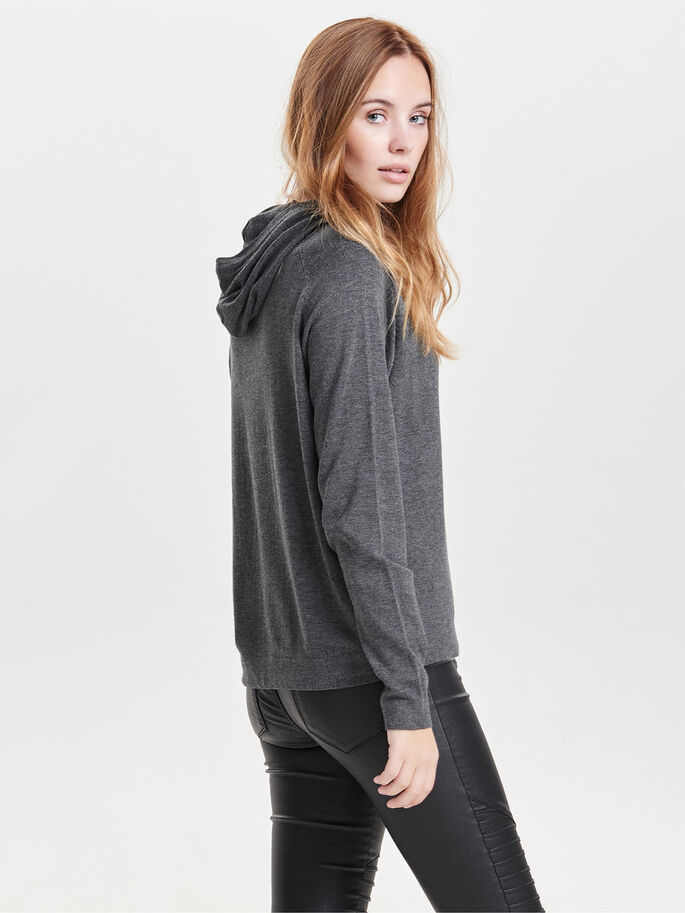 KNITTED HOODIE, Dark Grey Melange, large