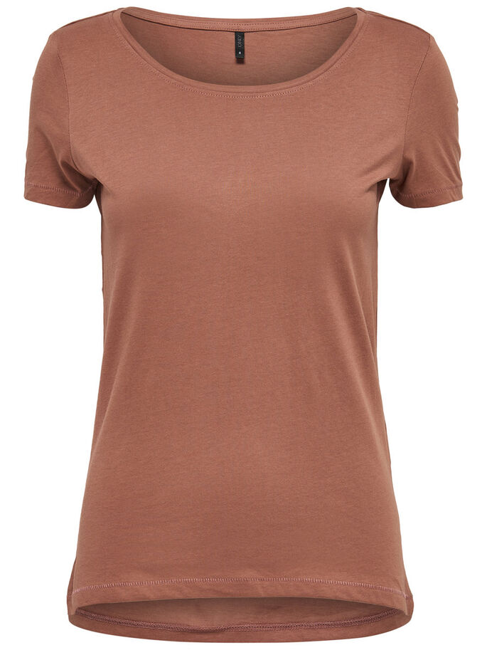 BASIC SHORT SLEEVED TOP, Cognac, large