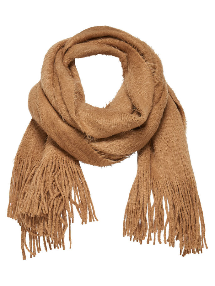 HAIRY KNITTED SCARF, Camel, large