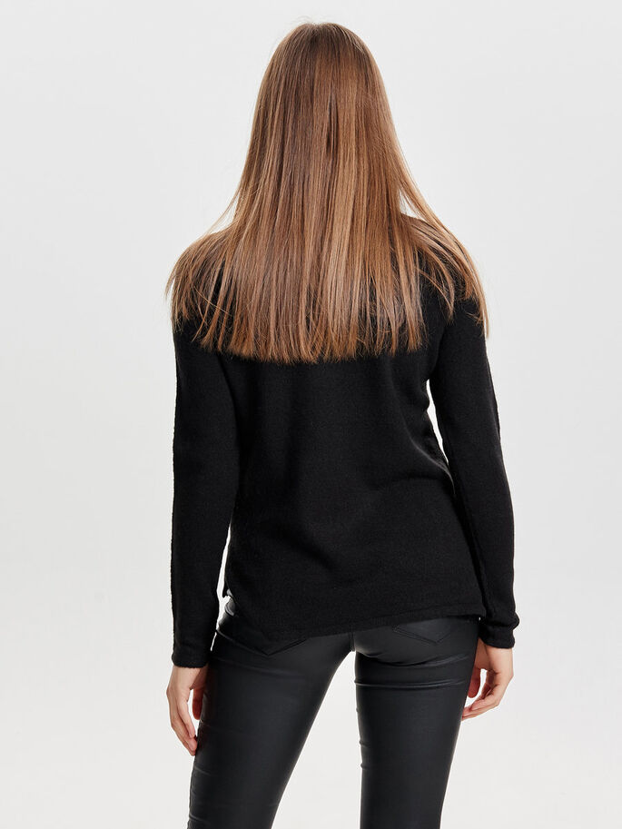 SEQUINS KNITTED PULLOVER, Black, large