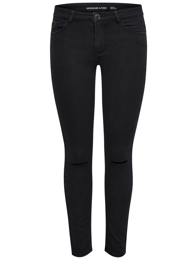 HOLLY KNEECUT ANKLE SKINNY JEANS, Black, large