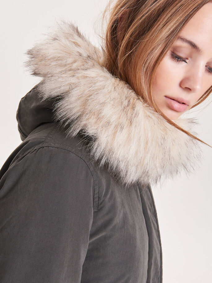 LONG PARKA COAT, Peat, large