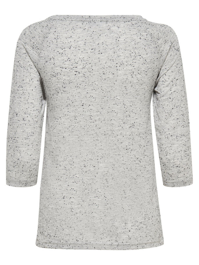 PRINTET BLUSE MED 3/4 ERMER, Light Grey Melange, large