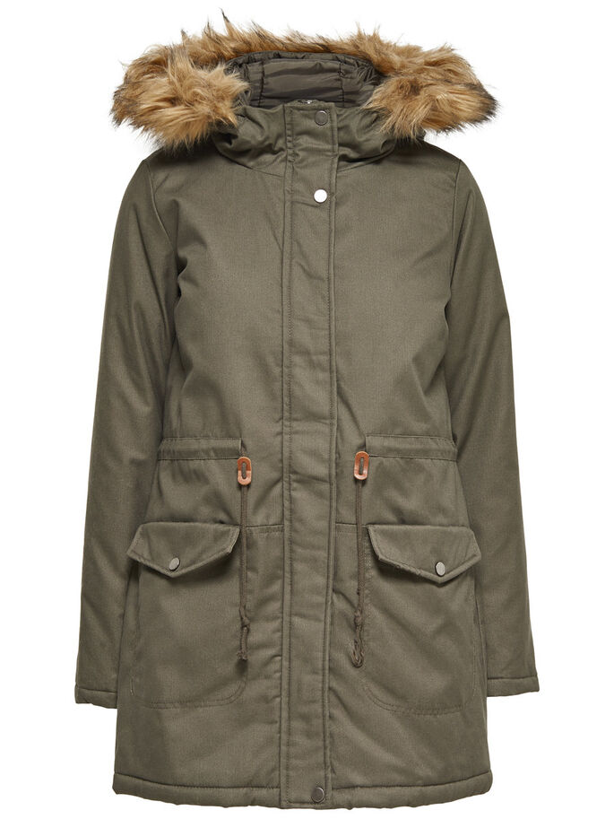 PADDED PARKA COAT, Dusty Olive, large