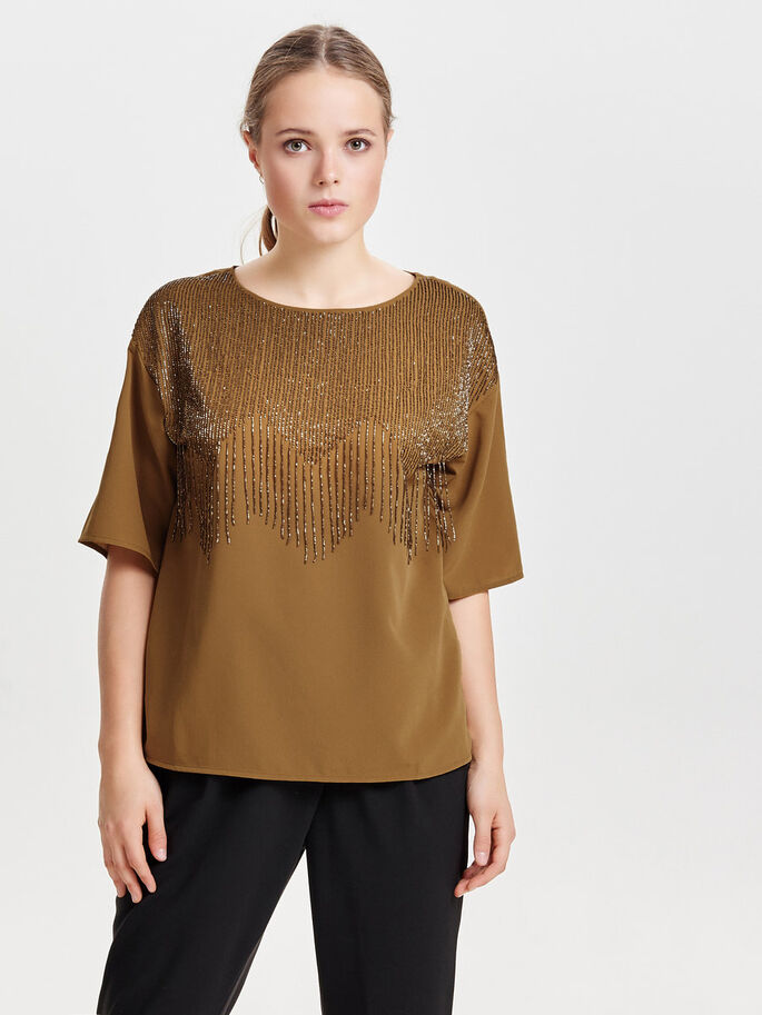PAILLETTEN- BLUSE MIT 2/4 ÄRMELN, Bronze Brown, large