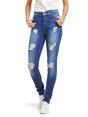 CORAL HIGH DESTROYED SKINNY FIT JEANS
