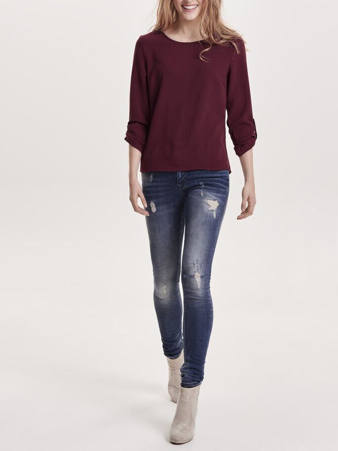 FOLD UP 3/4 SLEEVED TOP, Windsor Wine, large