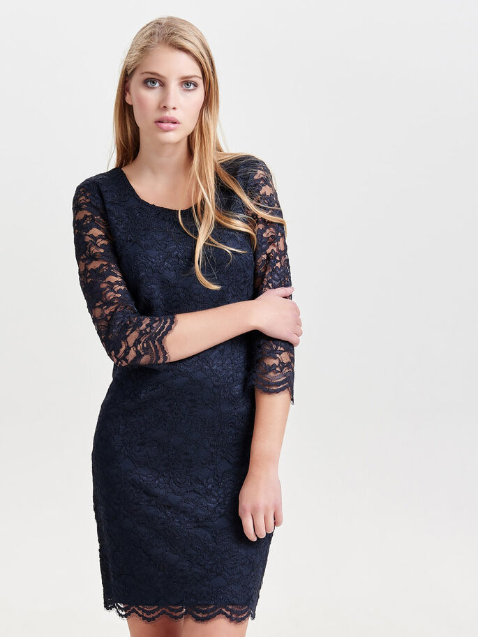 LACE SHORT DRESS, Night Sky, large