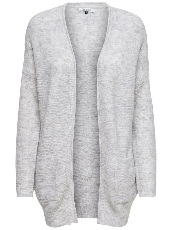 LØSTSIDDENDE STRIKKET CARDIGAN, White, large