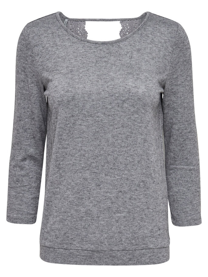 BLONDET TOPP MED 3/4 ERMER, Light Grey Melange, large
