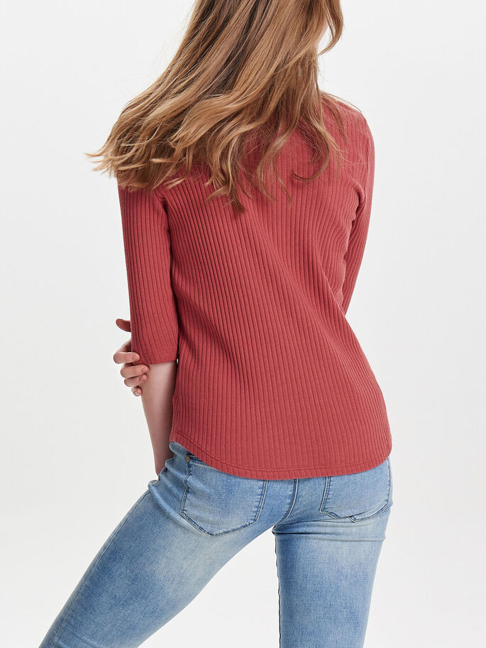 TIE-UP DETAIL 2/4 SLEEVED BLOUSE, Marsala, large