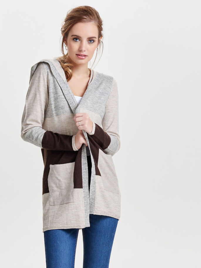 CONTRAST KNITTED CARDIGAN, Light Grey Melange, large