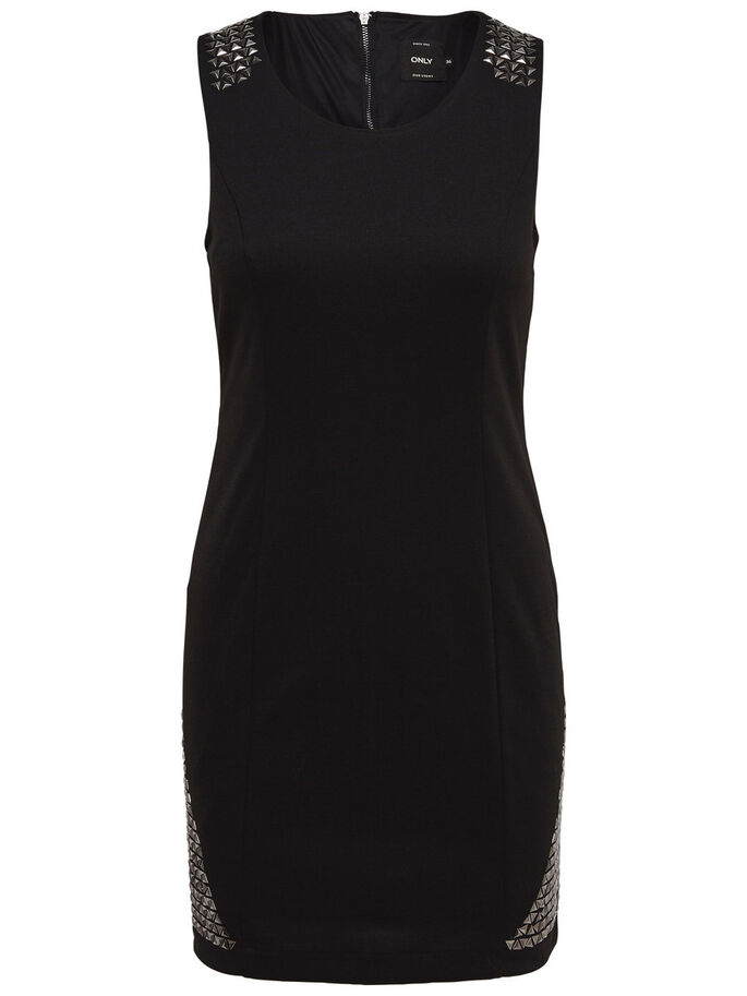 STUD DETAIL SLEEVELESS DRESS, Black, large