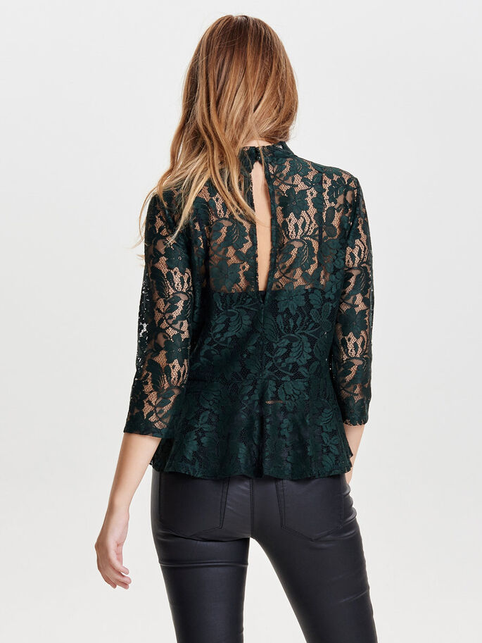 LACE 3/4 SLEEVED BLOUSE, Scarab, large