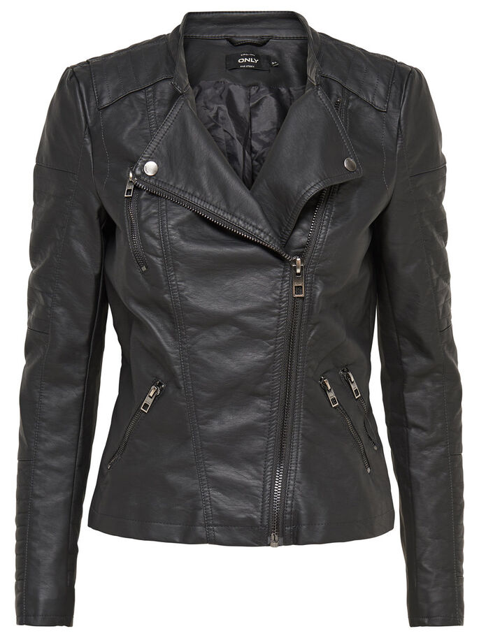 FAUX LEATHER BIKER JACKETS, Phantom, large